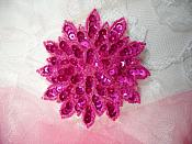"Fuchsia Sequin Applique Floral Beaded Iron on Patch 3"" (XR364)"