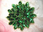 "Green Sequin Applique Floral Beaded Iron on Patch 3"" (XR364)"