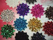 """Red Sequin Applique Floral Beaded Iron on Patch 3"""" (XR364)"""