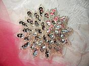 """Silver Sequin Applique Floral Beaded Iron on Patch 3"""" (XR364)"""