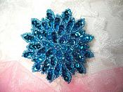 "Turquoise Sequin Applique Floral Beaded Iron on Patch 3"" (XR364)"
