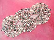 "Bridal Applique Silver Crystal Clear Rhinestone w/ Pearls for Bridal Accessories 4.5"" (XR365)"