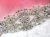 "Bridal Applique Silver Crystal Clear Rhinestone Motif  w/ Pearls 7.25"" (XR366)"