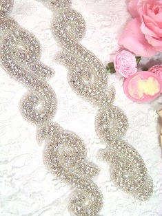 XR37 Swirl Silver Beaded Rhinestone Trim 1.5""
