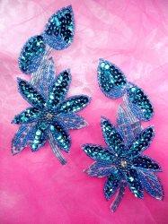 """XR51 Aqua Floral Mirror Pair Beaded Sequin Appliques 6"""""""