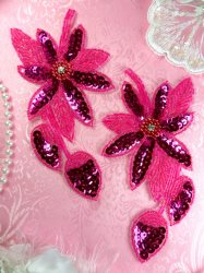 "XR51 Sequin Rhinestone Centered Appliques Fuchsia Floral Beaded Mirror Pair 6"""