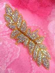 XR55 Gold Beaded Aurora Borealis Crystal AB Rhinestone Applique 7""