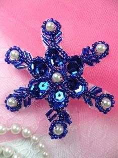 XR72  Blue Pearl Snowflake Beaded Sequin Applique 2.5""