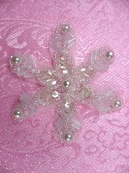 """XR72 Crystal Pearl Snowflake Beaded Sequin Applique 2.5"""""""