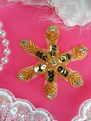 XR74 Rhinestone Snowflake Gold Crystal Beaded Sequin Applique 2.5""