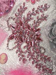 """XR83  Pink Crystal Clear Rhinestone Applique Embellishment 9"""""""
