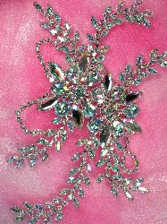 "XR83 CAB Crystal Aurora Borealis Rhinestone Applique Embellishment 9"""