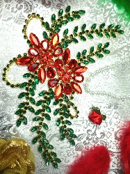 "XR83 Poinsettia Christmas Rhinestone Applique Embellishment 9"" with Gold Backing"
