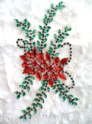 "XR83 Poinsettia Christmas Rhinestone Applique Embellishment 9"" with Silver Backing"