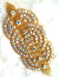 "XR9 Applique Gold Beaded Crystal AB Rhinestones Triple Circle 4.75"""