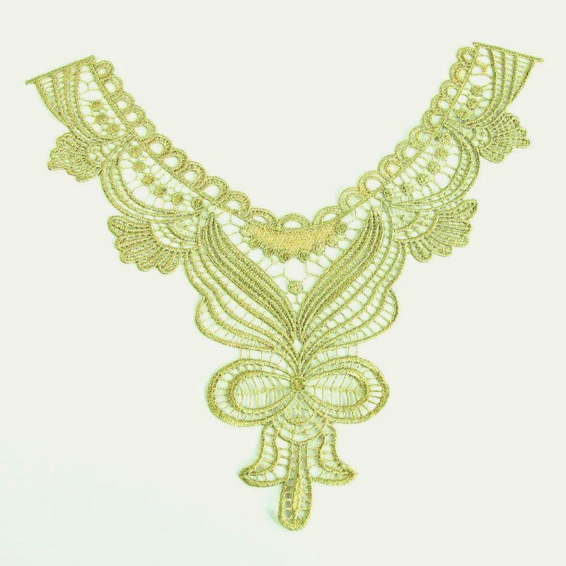 "Bodice Applique Embroidered Yoke Collar Neckline Lace Motif Antique Gold Metallic 14.5"" (Y1)"