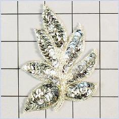 "FS476 Leaf Applique Sequin Silver Beaded Motif 4"""