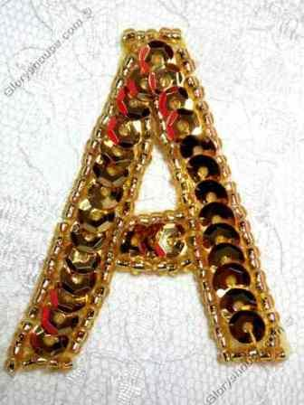 0464  Gold Letter ( A ) Sequin Beaded Applique  2""