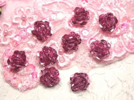 """0248  Set of 9  Mauve Sequin Flower Appliques 1/2"""""""