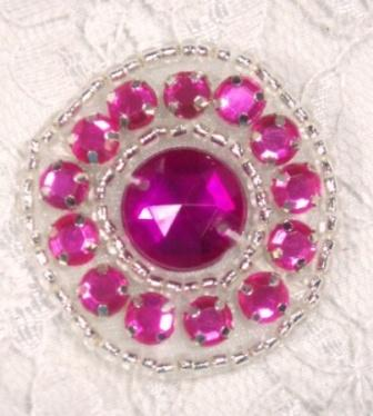 ACT/0379  Fuchsia Silver  Round Rhinestone Beaded Applique 1.25""