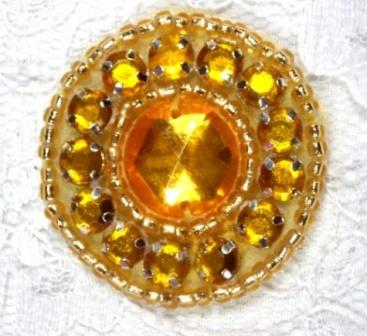 A0379   Gold Rhinestone Round Beaded Applique 1.25&quot;