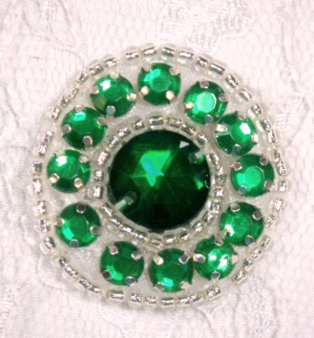 ACT/0379  Green Silver Rhinestone Round Beaded Applique 1.25""