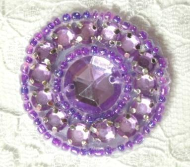 A0379  Lavender Rhinestone Round Beaded Applique 1.25&quot;
