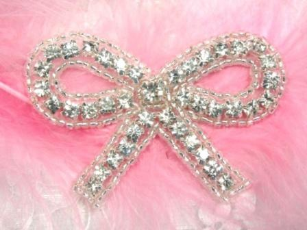 A0461  Clear Rhinestone Silver Beaded Bow Applique 2.5&quot;