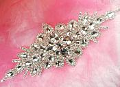 DH10 Bridal Sash Applique Crystal Rhinestone 9""