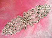 "Rhinestone Applique Crystal Glass Silver Beaded Bridal Sash Patch 7.5"" (XR363)"