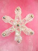 """Crystal AB Rhinestone Snowflake Applique w/ Crystal AB Sequins and Beads 2.5"""" (XR74)"""