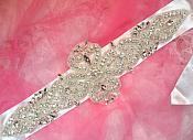 Bridal Sash Crystal Rhinestone Silver Setting On White Satin Double Face Ribbon (BSZ13)