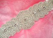 Bridal Sash Crystal Rhinestone Silver Setting On White Satin Double Face Ribbon (BSZ14)