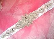 Bridal Sash Crystal Rhinestone Silver Setting On White Satin Double Face Ribbon (BSZ7)