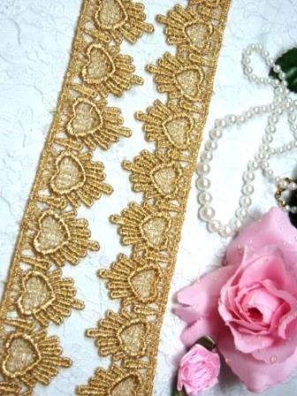 "C124  Metallic Gold Venice Lace Victorian Sewing Trim 1.75"""