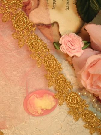 """C112 Elegant Gold Metallic Rose Victorian Venice Lace Trim  1"""""""