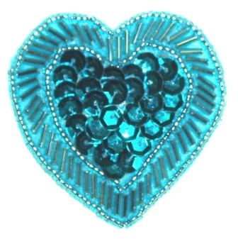LC353  Turquoise Heart Sequin Beaded Applique  2.25""