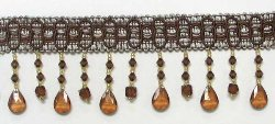 E5676 Cocoa Nicole Teardrop Beaded Fringe Trim 2.75&quot;
