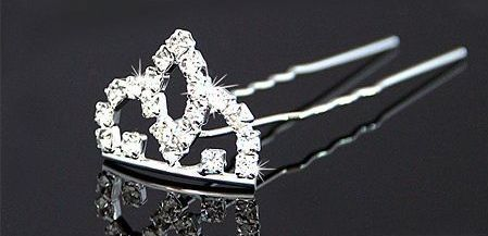 GB73 Silver Crown Rhinestone Crystal Hair pin