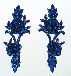 E105 Royal Blue Rose Appliques Vine Mirror Pair Sequin Beaded Blue Pearl  9.5""