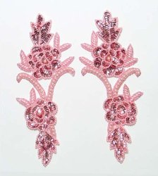 E105 Appliques Rose Vine Mirror Pair Sequin Beaded Pink Pearl 9.5&quot;