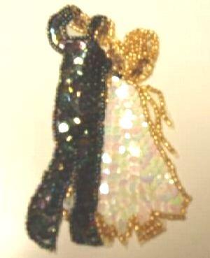 """E1206 Dancing Couple Sequin Beaded Applique 4.5"""""""