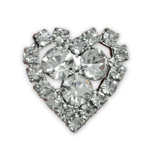 "E1327/Heart  Rhinestone Heart Button Embelliishment Crystal Petite  5/8"""