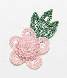 E3616 Pink Floral Applique Bouquet 3.75""