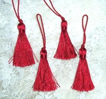"E5970  Set of ( 4 )  Red Mini Tassels 2"""