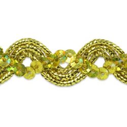 E6962 Gold Metallic Braid Sequin Sewing Craft Trim 5/8""