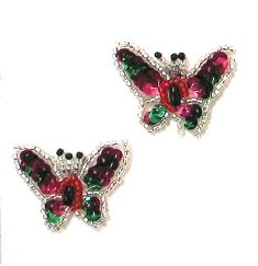 E709 (Set of 2) Rainbow Butterfly Applique Sequin Beaded 1.25""