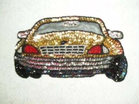 EA25  Gold Car Sequin Beaded Applique 7""