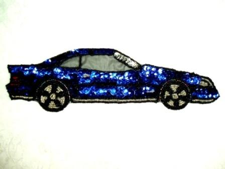 EA26  Blue Car Sequin Beaded Applique 10""