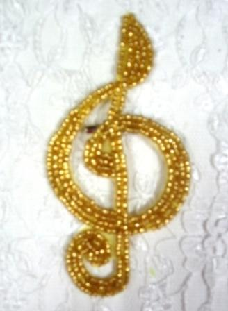 """EA34  Gold G Clef Beaded Musical Applique 4"""""""